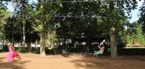 Girls on a flying fox (zip-line), Leeton, NSW, October 2013