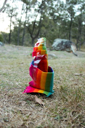A sticky-taped rainbow scarf, October 2013