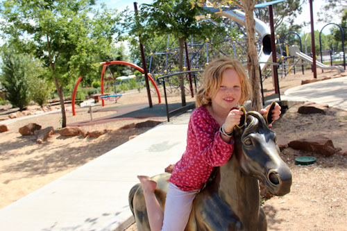 Brioni on a horse in City Park, Griffith, NSW, October 2013