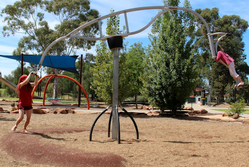 Riding the skysurf, City Park, Griffith, NSW, October 2013