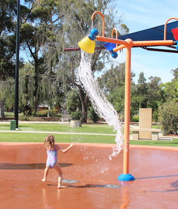 Splashpad at City Park, Griffith, NSW, October 2013