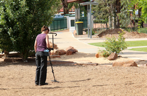 Metal detector in use, October 2013