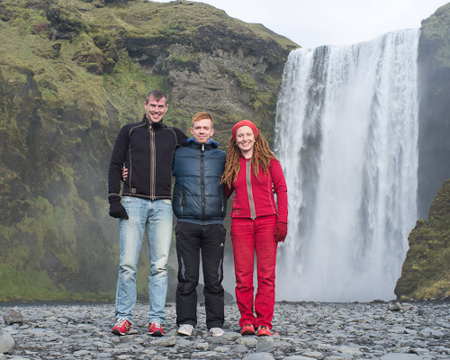Ben Mathis, Ágúst Karlsson and Lauren Fisher at Seljalandsfoss, Iceland, in September.