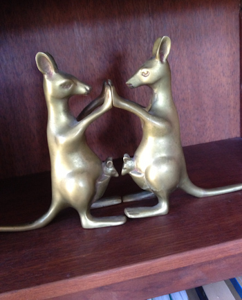 Two kangaroo book-ends with joeys in their pouches, December 2013