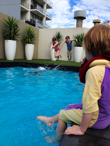 Playing in the pool, Vibe Hotel, Sydney, June 2014