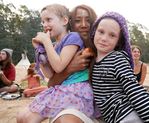 Calista, King and Aisha, Rainbow Gathering, Tasmania, February 2014