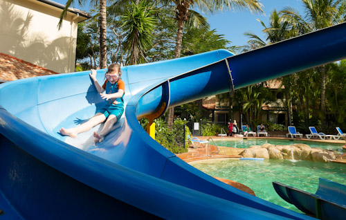 Down the slide, Turtle Beach resort, Mermaid Beach, Gold Coast, July 2014