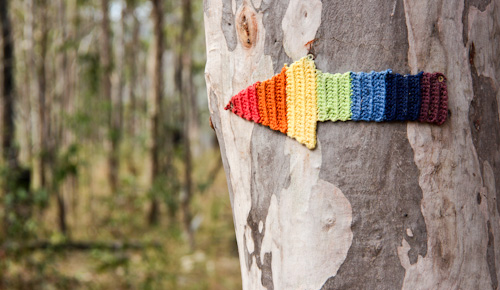 Crochet rainbow arrow outside Drake, northern NSW, July 2014