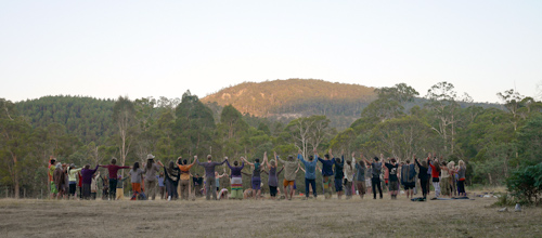Circle for the opening of the Tasmanian Rainbow Gathering, January 2014