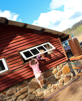 Playing in the Peace Cabin, Avelon, outside Tenterfield, northern NSW, July 2014