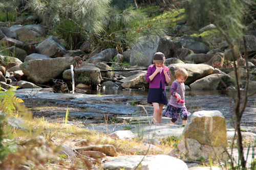 Playing in the creek, Avelon, northern NSW, July 2014