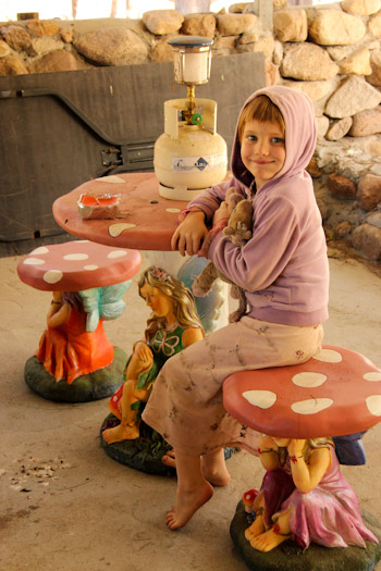 Calista on a fairy-toadstool outdoor setting, July 2014