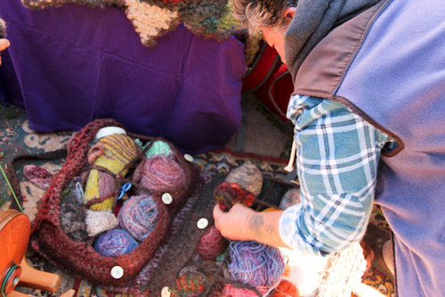 Balls of wool, Nimbin Markets, 4th and 5th Sundays, Nimbin, northern NSW, July 2014