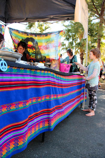 Brioni shopping at Nimbin Markets, 4th and 5th Sundays, Nimbin, northern NSW, July 2014