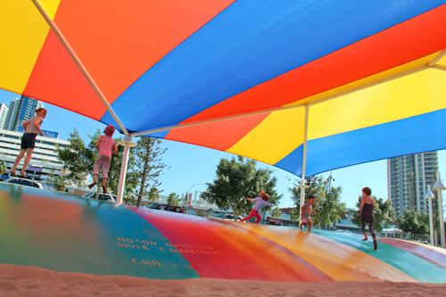 Bouncing pillow, Washington Waters Children's Playground, Broadwater Parklands, Southport, Gold Coast, August 2014