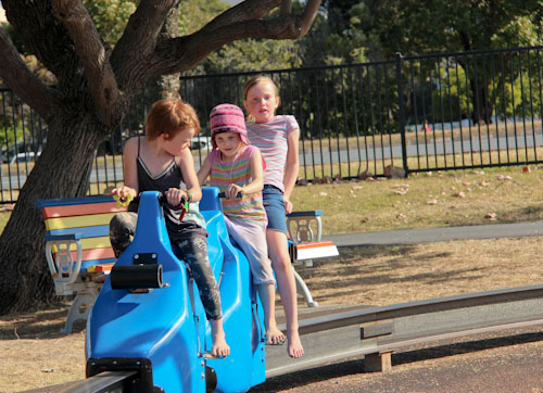 Pedal cars, Washington Waters Children's Playground, Broadwater Parklands, Southport, Gold Coast, August 2014