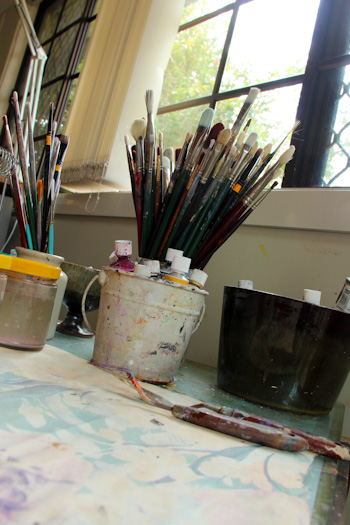 Paint brushes in a studio, August 2014