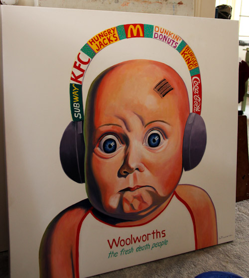 Painting of a baby with headphones displaying corporate logos, Jo Frederiks, vegan artist, animal activist, using art to raise awareness of animal suffering and inspiring change to a cruelty-free lifestyle, August 2014