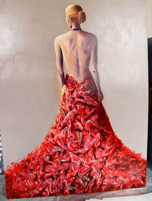 Painting of an evening gown made from the carcasses of small animals, Jo Frederiks, vegan artist, animal activist, using art to raise awareness of animal suffering and inspiring change to a cruelty-free lifestyle, August 2014