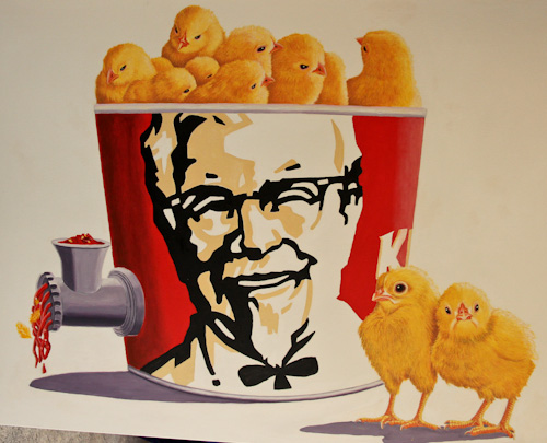 Day-old chicks in a KFC tub, spitting out meat through a grinder, painting by Jo Frederiks, vegan artist, animal activist, using art to raise awareness of animal suffering and inspiring change to a cruelty-free lifestyle, August 2014