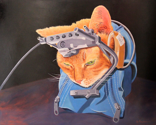 Painting of the cat named Double Trouble, by Jo Frederiks, vegan artist, animal activist, using art to raise awareness of animal suffering and inspiring change to a cruelty-free lifestyle, August 2014