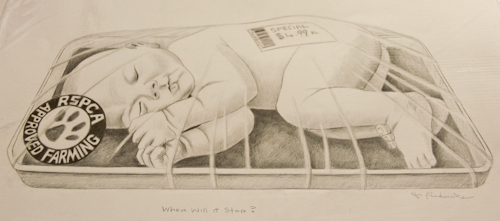 Picture of a packaged baby, as sold in a supermarket, Jo Frederiks, vegan artist, animal activist, using art to raise awareness of animal suffering and inspiring change to a cruelty-free lifestyle, August 2014