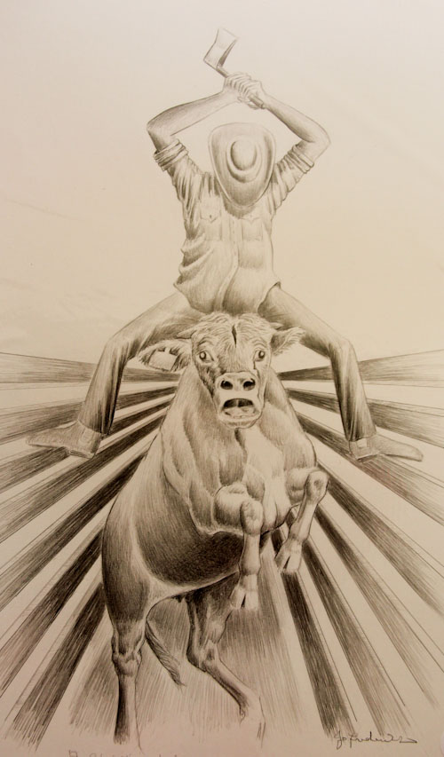 Botched execution of a steer by a ranch-hand, Jo Frederiks, vegan artist, animal activist, using art to raise awareness of animal suffering and inspiring change to a cruelty-free lifestyle, August 2014