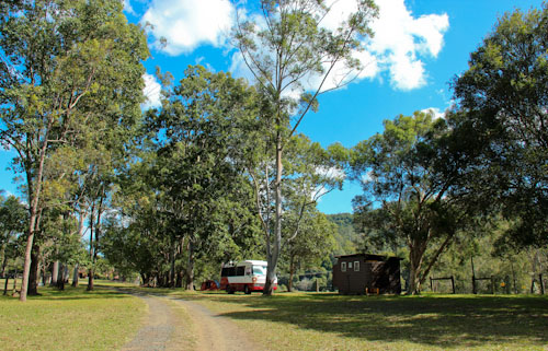 Camping at The Channon Village Campground, The Channon, northern NSW, August 2014