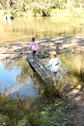 Girls playing at Tooloom Falls, Tooloom Creek, NSW, August 2014