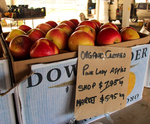 Fresh apples at Lismore Organic Farmers Market, Lismore, northern NSW, August 2014