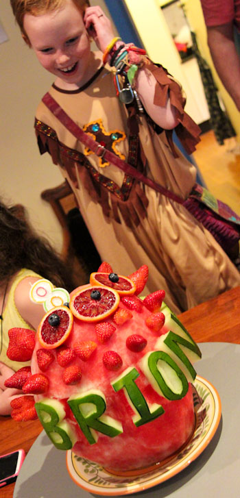 Carved watermelon cake at Brioni's vegan birthday party, August 2014