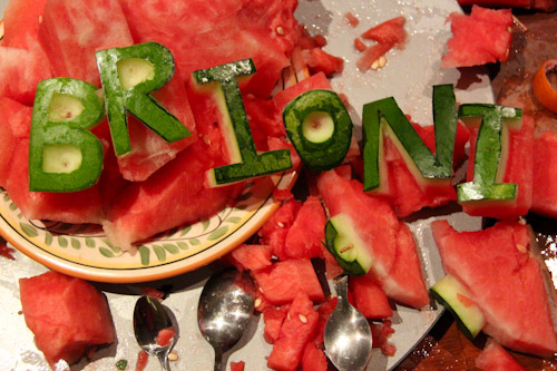 Brioni's name in carved watermelon letters, August 2014