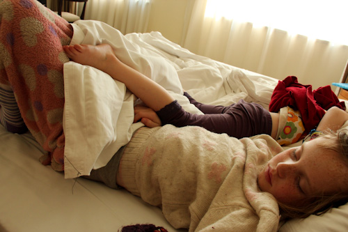 Lana and Aisha co-sleeping in a Beijing hotel, August 2014