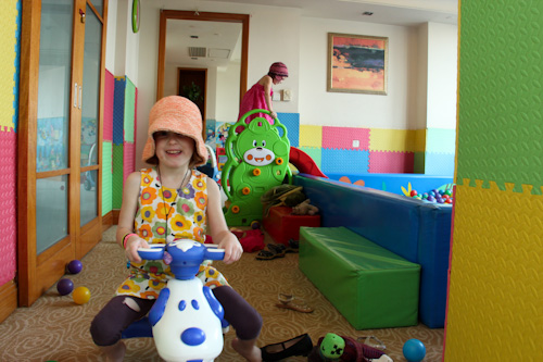 Girls playing in the kids' club room at Ascott Beijing, August 2014
