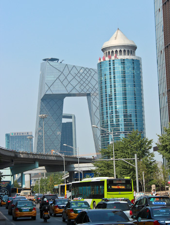 CCTV headquarters and China Garments Mansion, Chaoyang District, Beijing, August 2014