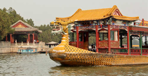 Dragon Boat on Lake Kumming, Summer Palace Imperial Gardens, Beijing, China, August 2014