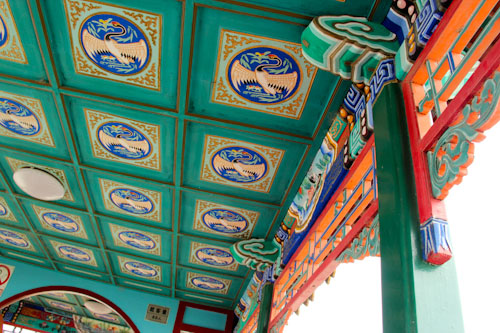 Details on a Dragon Boat on Lake Kumming, Summer Palace Imperial Gardens, Beijing, China, August 2014