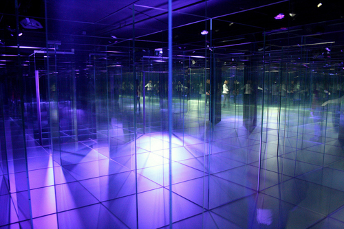 Glass labyrinth at Glasi Hergiswil, Switzerland, September 2014