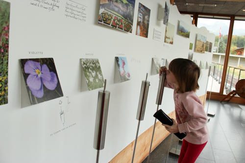 Calista browsing the interactive exhibits at La Maison du Gruy�re, Switzerland, September 2014