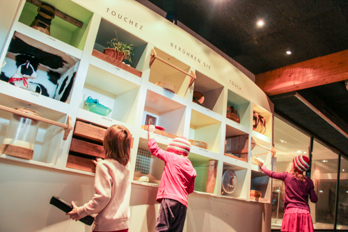 Browsing the interactive exhibits at La Maison du Gruy�re, Switzerland, September 2014