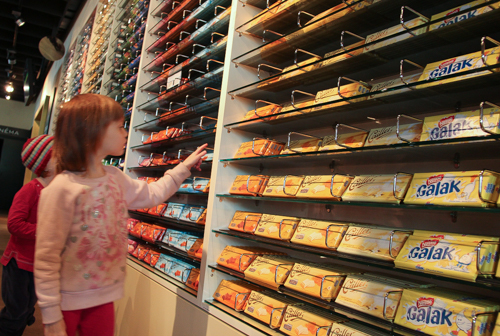 Browsing the chocolate at Maison Cailler, Broc, Switzerland, September 2014