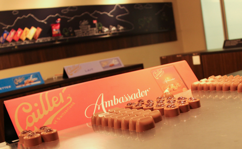 Tasting chocolate on the tour at Maison Cailler, Broc, Switzerland, September 2014