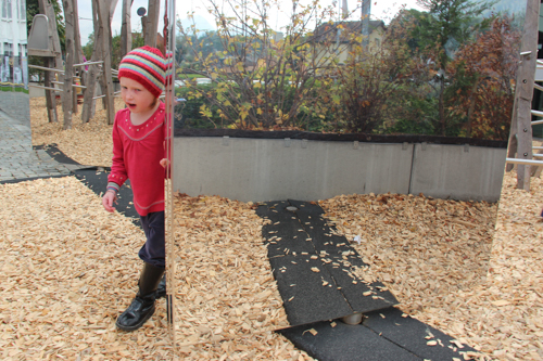 Large pivoting mirror at the playground outside Maison Cailler, Broc, Switzerland, September 2014