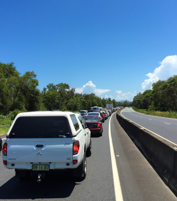 Bumper-to-bumper cars on the Pacific Motorway, outside Coffs Harbour, NSW, January 2015