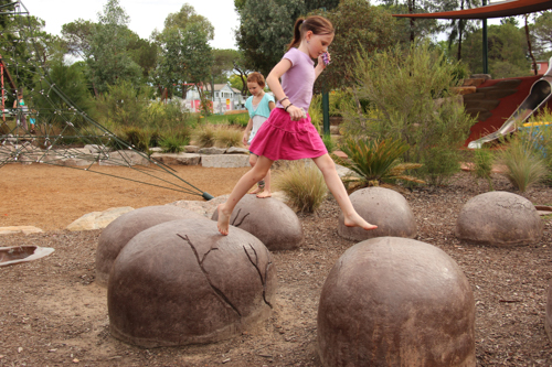 Dinosaur eggs, Bathurst's Adventure Playground, NSW, January 2015