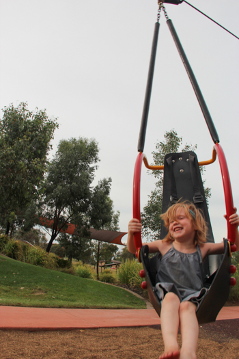 Lana on the flying fox, Bathurst's Adventure Playground, NSW, January 2015