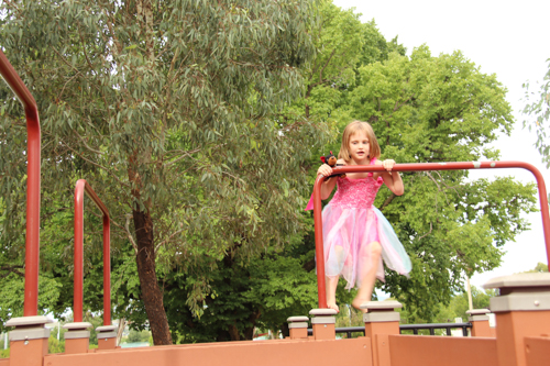 Calista in the labyrinth, Bathurst's Adventure Playground, NSW, January 2015