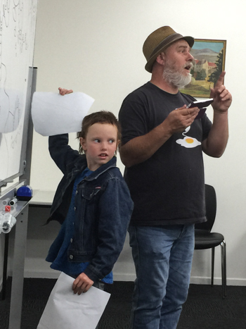 Cartooning workshops with Bradfield Dumpleton, Tasmania, January 2015
