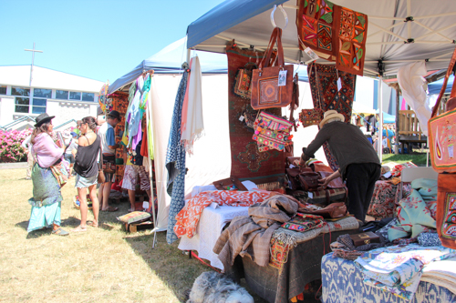 Market stalls at Cygnet Folk Festival, Tasmania, January 2015