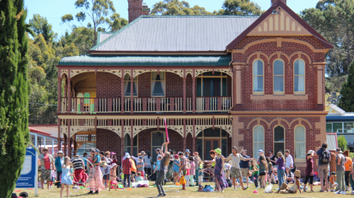 Circus-skills workshop, Cygnet Folk Festival, Tasmania, January 2015